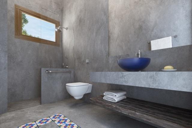 Piso de cimento queimado em banheiro : Projeto residencial em piracaia karla cunha