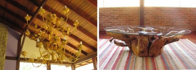 luminária em ferro e mesa ambientalmente correta