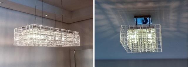 detalhes das luminárias confeccionadas com cristais | imagem: léo barrilari