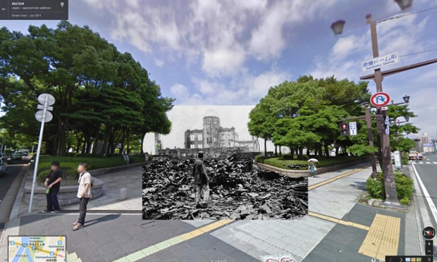 homem sobre destroços da prefeitura, após bomba de hiroshima, um dos poucos edifícios que permaneceram de pé e que hoje fazem parte do peace memorial park, agosto de 1945 | imagens: halley docherty, the guardian