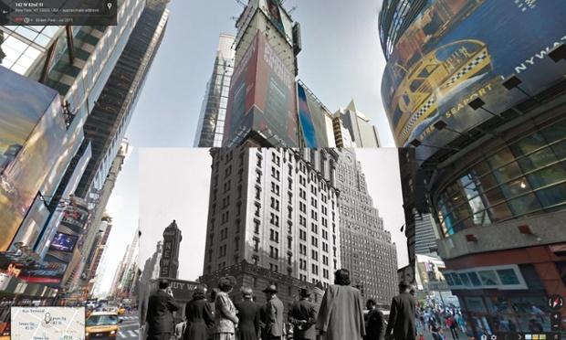 multidão assiste às notícias no dia d, na times square, nova iorque, 06 de junho de 1944 | imagens: halley docherty, the guardian