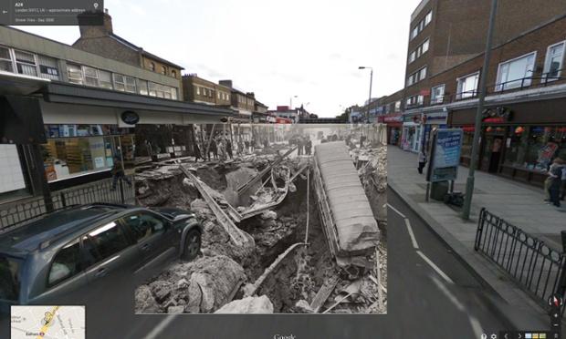 bomba durante blitzkrieg destruiu parcialmente a estação Balham, outubro de 1940 | imagens: Halley Docherty, The Guardian