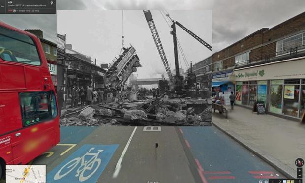 guindastes removem ônibus de cratera após a bomba em balham, outubro de 1940 | imagens: Halley Docherty, The Guardian