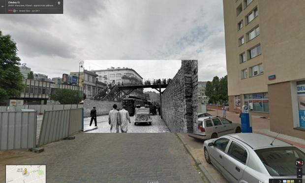 ponte ligando duas partes de gueto em varsóvia, na polônia, em 1942 | imagens: Halley Docherty, The Guardian