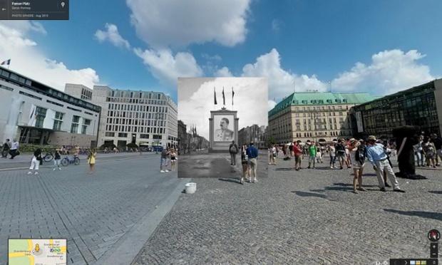 civil alemão olha para um cartaz do líder soviético Stalin em Berlim,  junho de 1945 | imagens: halley docherty, the guardian