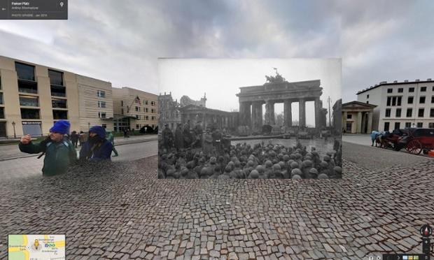 soldados russos reunidos no portal de brandemburgo, em berlim, 1945 | imagens: halley docherty, the guardian